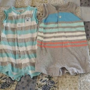 2 Boys Rompers size 3 to 6 months